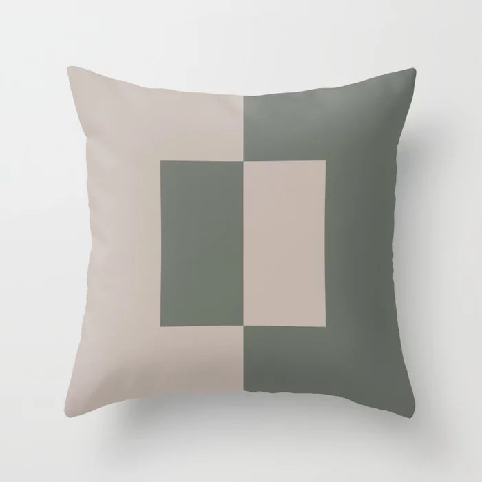 Moody Green Neutral Beige Minimal Square Design 2021 Color of the Year Contemplative and Stucco Throw Pillow