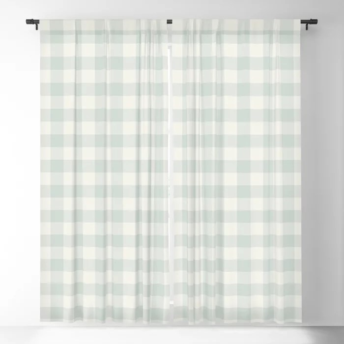 Pastel Green and Cream Buffalo Plaid Pairs Behr 2022 Color of the Year Breezeway MQ3-21 Blackout Curtain. Spring/Summer 2022 color forecast
