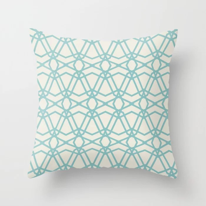 Pastel Teal and Cream Line Art Geometric Pattern 2021 Color of the Year Aqua Fiesta and Horseradish Throw Pillow