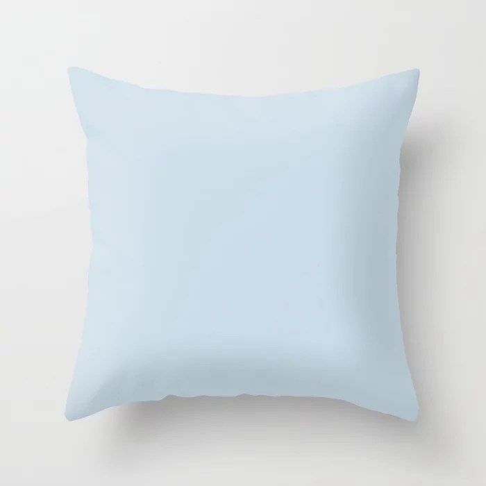 Light Pastel Blue Solid Color Behr 2021 Color of the Year Accent Shade Blue Me Away M510-1 Throw Pillow