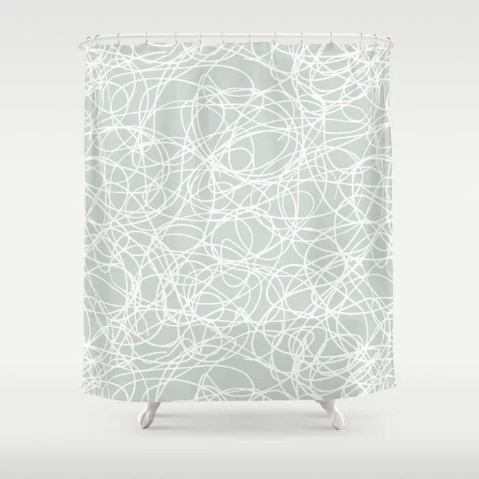 Mint Green and White Scribble Mosaic Pattern Behr 2022 Color of the Year Breezeway MQ3-21 Shower Curtain. 2022 color trend