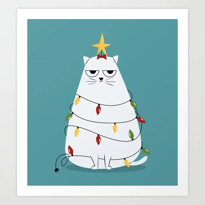 Sunday's Society6 | Grumpy Christmas cat art print