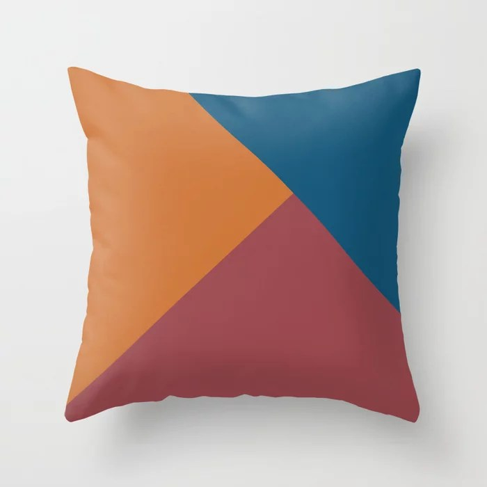 Red Dark Blue Orange Solid Color Abstract Design Pairs HGTV 2021 Color of the Year Passionate Throw Pillow