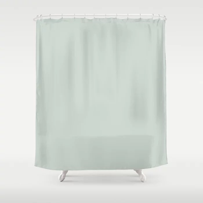 Pastel Green Solid Color shower curtain Pairs Behr 2022 Color of the Year Breezeway MQ3-21. 2022 color scheme, trending interior design hue.