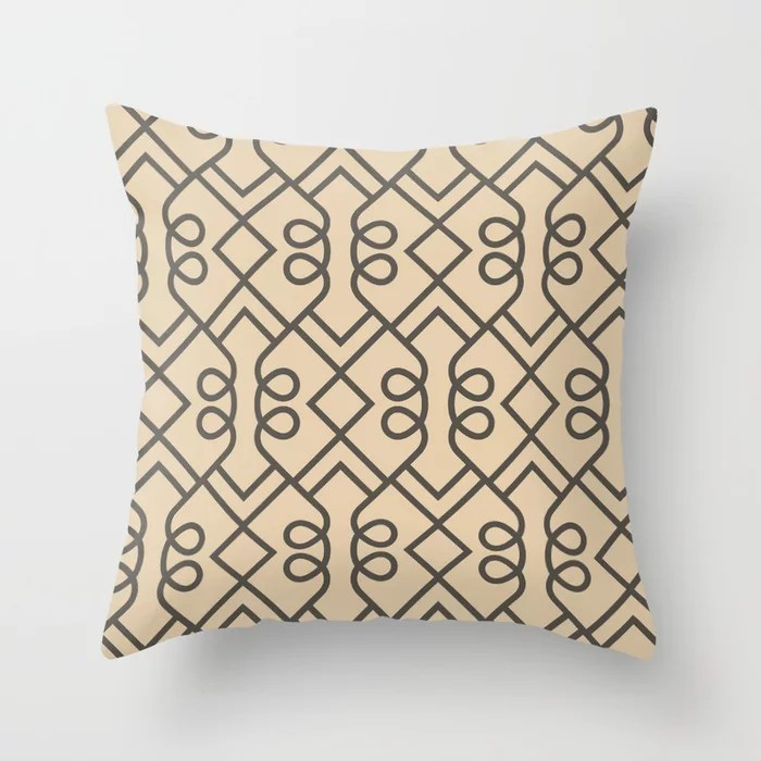 Brown and Tan Minimal Diamond Loop Pattern Throw Pillows match and coordinate with Sherwin Williams Paints 2021 Color of the Year Urbane Bronze and Ivoire