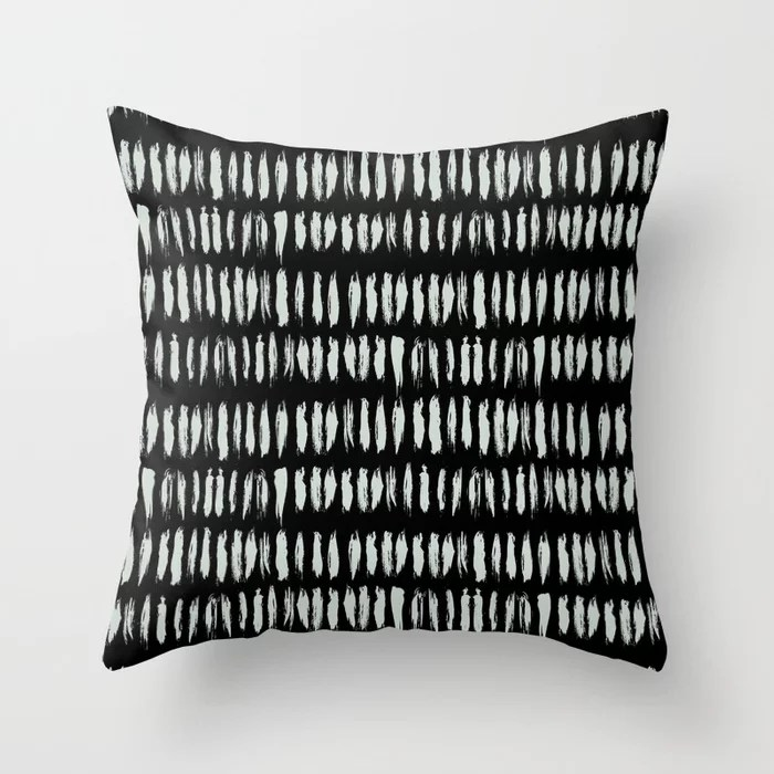 Pastel Green and Black Stripe Dash Lines Pattern Pairs Behr 2022 Color of the Year Breezeway MQ3-21 Throw Pillow. 2022 color scheme, trending interior design hue.