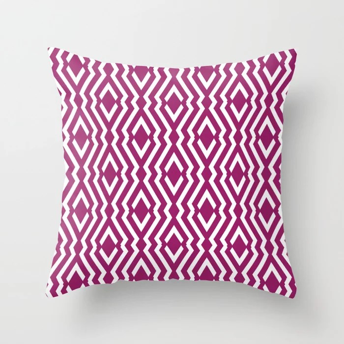 Magenta and White Diamond Zig Zag Ripple Pattern - Colour of the Year 2022 Orchid Flower 150-38-31 Throw Pillow