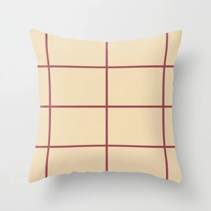 Red and Cream Abstract Check Line Pattern Pairs HGTV 2021 Color of the Year Passionate Throw Pillow