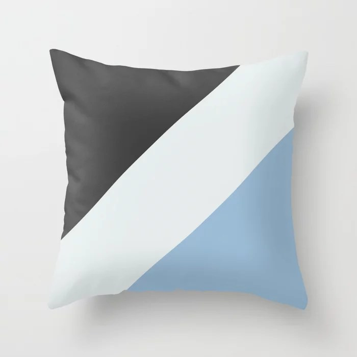 Pastel Blue White Black Diagonal Stripe Pattern Throw Pillows inspired by and pairs to (matches / coordinates with) Dutch Boy 2021 Color of the Year Earth's Harmony & Accent Hues