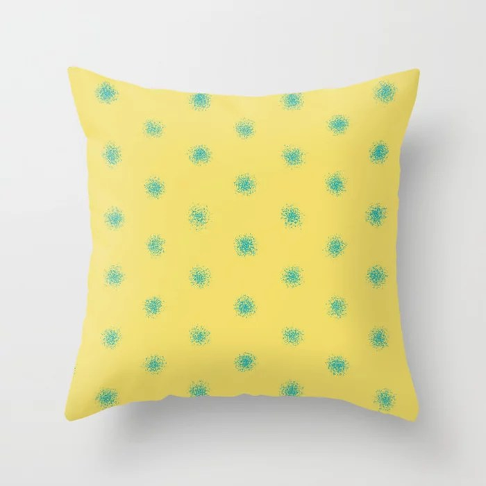 Blue-Green Yellow Splatter Polka Dot Pattern V3 2021 Color of the Year AI Aqua 098-59-30 Throw Pillow