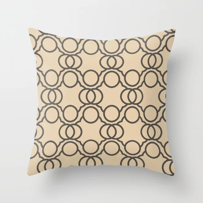 Brown And Buff Beige Geometric Circle Pattern Throw Pillow Matches Sherwin Williams Paints 2021 Color of the Year Urbane Bronze and Ivoire