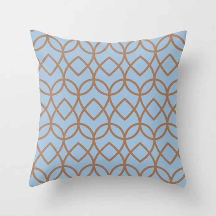 Pastel Blue and Brown Geometric Pattern Teardrop Throw Pillows inspired by and pairs to (matches / coordinates with) Dutch Boy 2021 Color of the Year Earth's Harmony and Desert Varnish