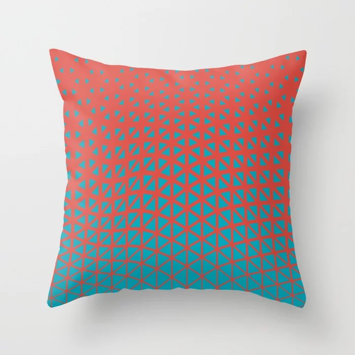 Aqua Blue and Red Triangle Gradient Wave Pattern 2021 Color of the Year AI Aqua and Oxy Fire Throw Pillow