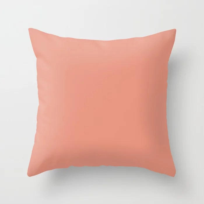 Lemonaid Pink Solid Color Accent Shade Matches Sherwin Williams Ravishing Coral SW 6612 Throw Pillow