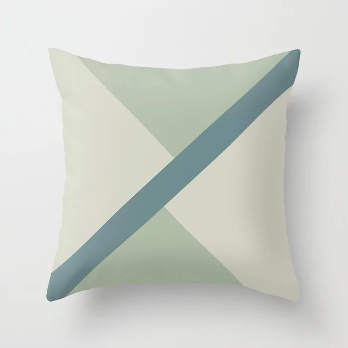 Muted Aqua Green and Beige Line Pattern 2021 Color of the Year Aegean Teal & Accent Shades Throw Pillow