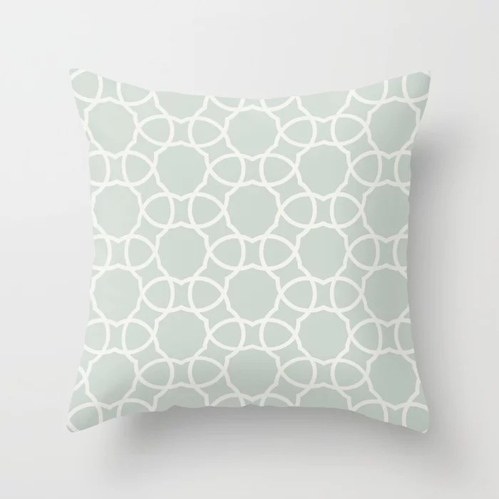 Pastel Green and Cream Petal Tile Pattern Pairs Behr 2022 Color of the Year Breezeway MQ3-21 Throw Pillow. 2022 color scheme, trending interior design hue.