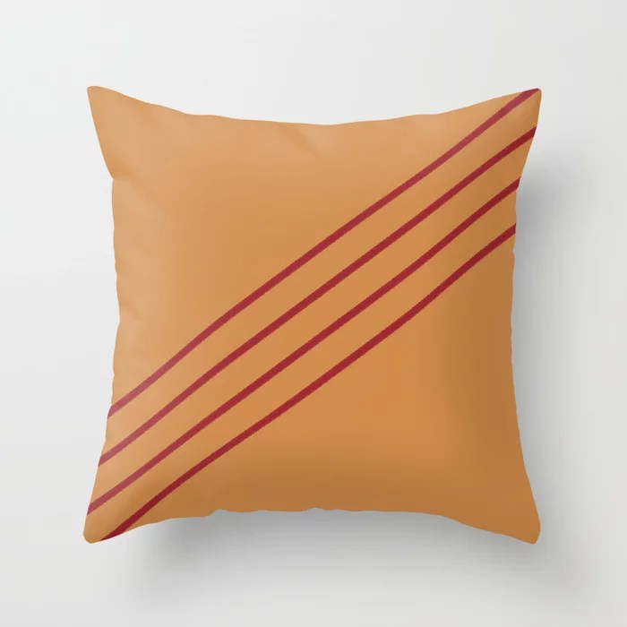 Dark Orange & Red Angled 4 Stripe Pattern 2021 Color of the Year Satin Paprika and Warm Caramel Throw Pillow