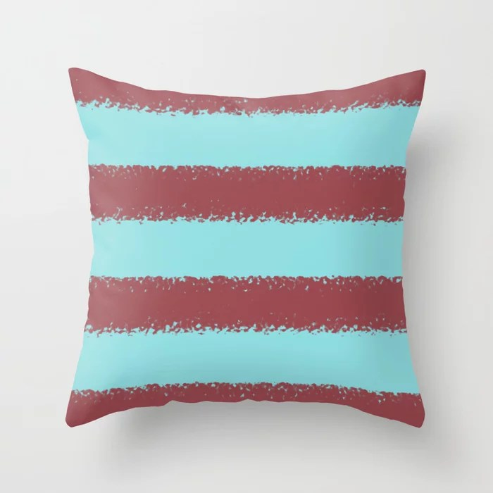 Red and Pastel Blue Minimal Stripe Pattern Pairs HGTV 2021 Color of the Year Passionate Throw Pillow