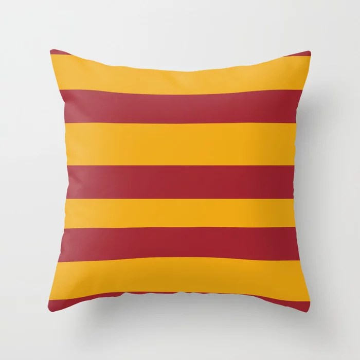 Red Orange Wide Stripe Pattern 2021 Color of the Year Satin Paprika and Satin Harvest Peach Throw Pillow