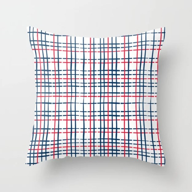 4th of July Skinny Gingham Throw Pillow by Anne LaFollette