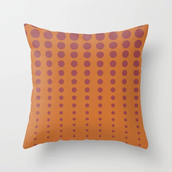 Red and Orange Reduced Polka Dot Pattern 2021 Color of the Year Passionate and Copper Kettle Throw Pillow