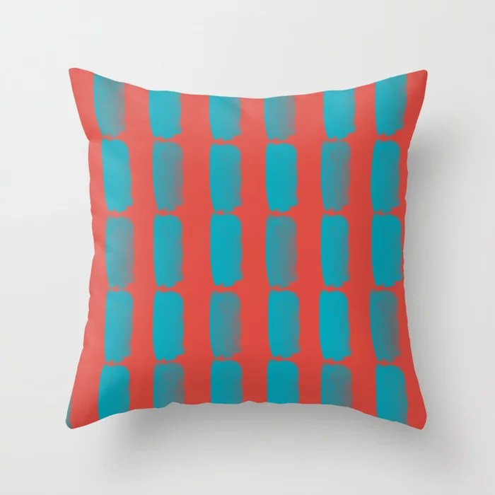 Aqua Blue and Red Grid Brushstroke Pattern 2021 Color of the Year AI Aqua and Oxy Fire Throw Pillow