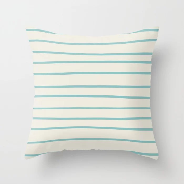 Pastel Teal and Cream Horizontal Stripe Pattern 2021 Color of the Year Aqua Fiesta and Horseradish Throw Pillow