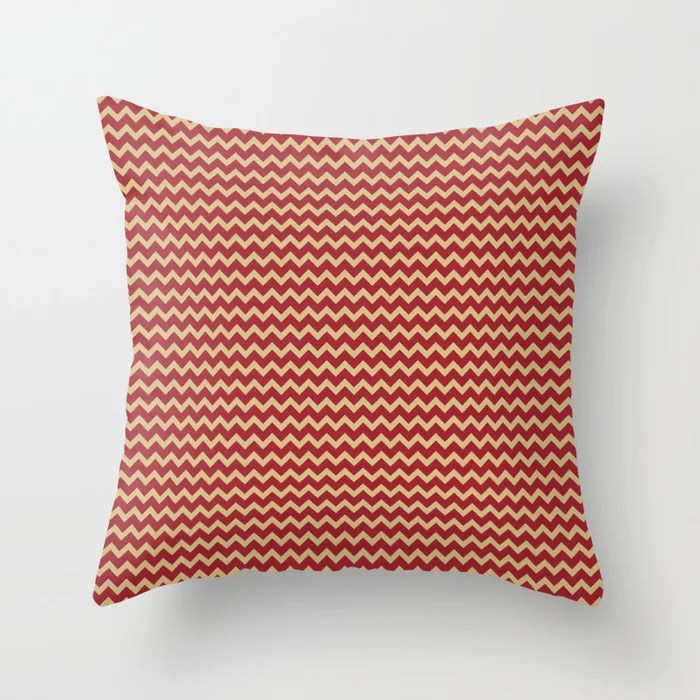 Red and Beige Chevron Pattern 2021 Color of the Year Satin Paprika and Sunlit Brass Throw Pillow