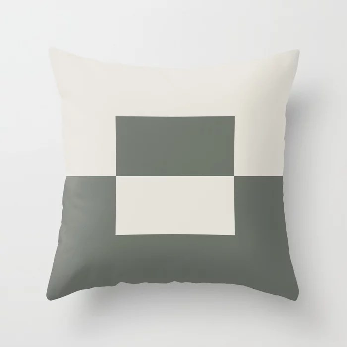 Moody Green Creamy White Minimal Square Design 2 2021 Color of the Year Contemplative and Whitewisp Throw Pillow
