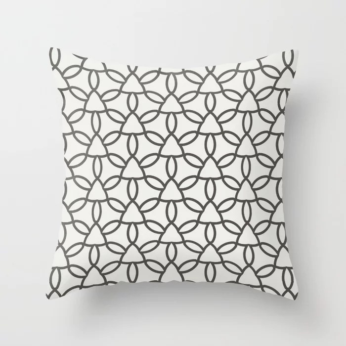 Dark Brown Off-White Tessellation Line Pattern 32 2021 Color of the Year Urbane Bronze & Extra White Throw Pillow