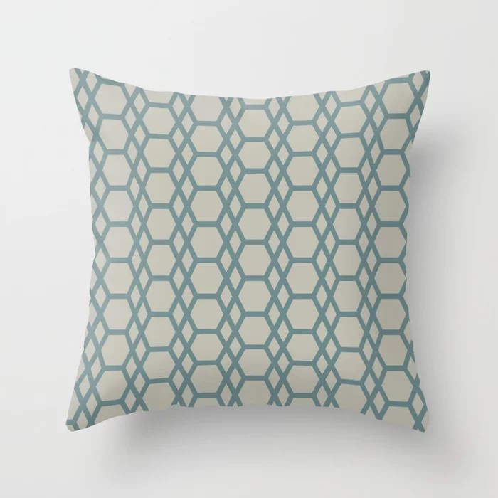 Blue-Green Tan Line Pattern 13 Hexagon Diamond 2021 Color of the Year Aegean Teal and Winterwood Throw Pillow