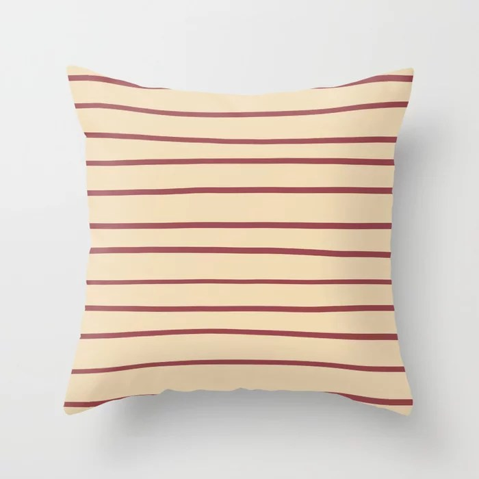 Red and Beige Horizontal Stripe Pattern 2021 Color of the Year Passionate and Diamond Weave Throw Pillow