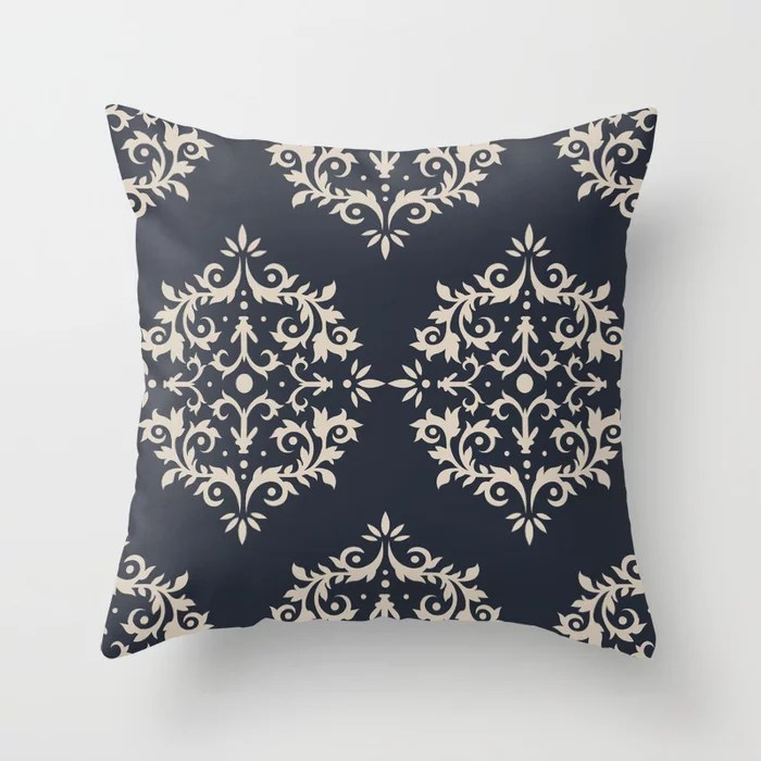 Light Beige and Blue Damask Scroll Pattern: Hues were inspired by and match (pair / coordinate with) 2021 Color of the Year Uptown Ecru & Classic Navy Throw Pillow
