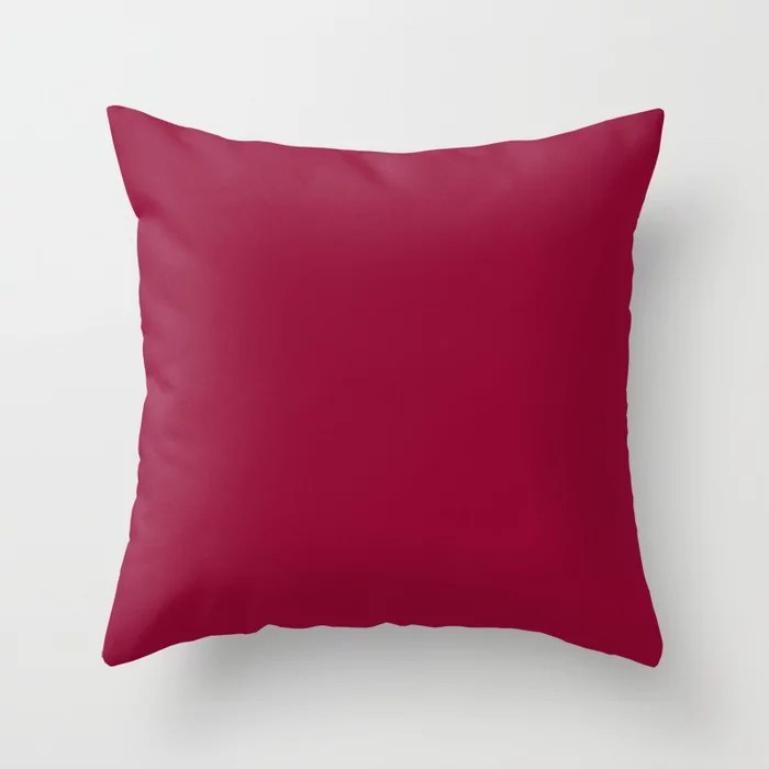 Best Seller Colors of Autumn Chili Red - Deep Rich Pink Solid Color / Accent Shade / Hue Throw Pillow
