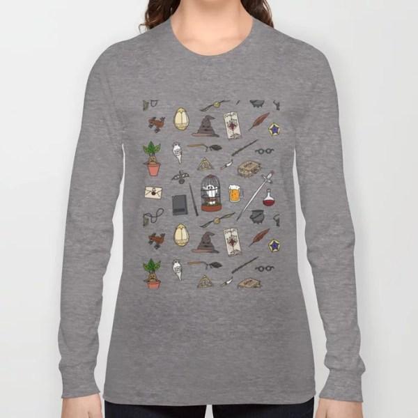 Harry Potter Pattern Long Sleeve T-Shirt