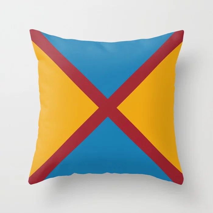 Red Orange Blue Diagonal Stripe Design 2021 Color of the Year Satin Paprika and Accent Shades Throw Pillow