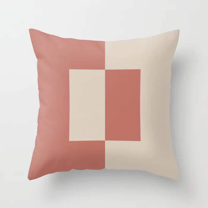 Light Beige Dark Peach Minimal Square Design: Hues were inspired by and match (pair / coordinate with) 2021 Color of the Year Uptown Ecru and Moroccan Clay Throw Pillow