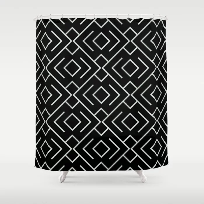 Pastel Green and Black Shape Mosaic Pattern 4 Pairs Behr 2022 Color of the Year Breezeway MQ3-21 Shower Curtain. 2022 color trend