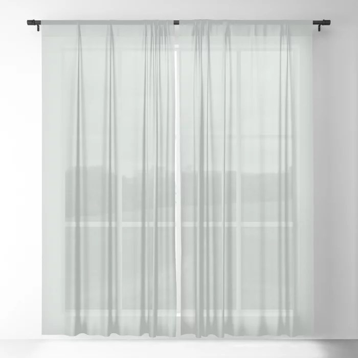 Pastel Green Solid Color sheer window curtains Pairs Behr 2022 Color of the Year Breezeway MQ3-21. 2022 color scheme, trending interior design hue.