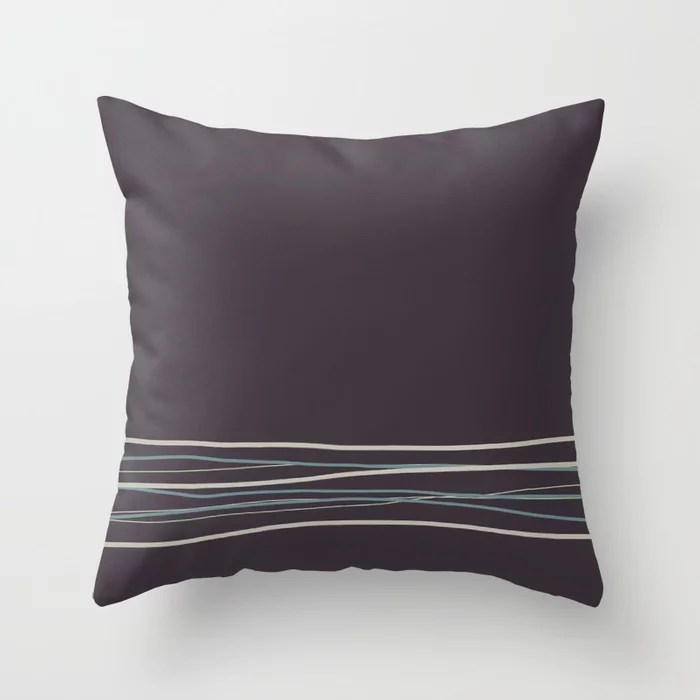Purple Scribble Line Pattern 2021 Color of the Year Aegean Teal and Accent Shades Throw Pillow
