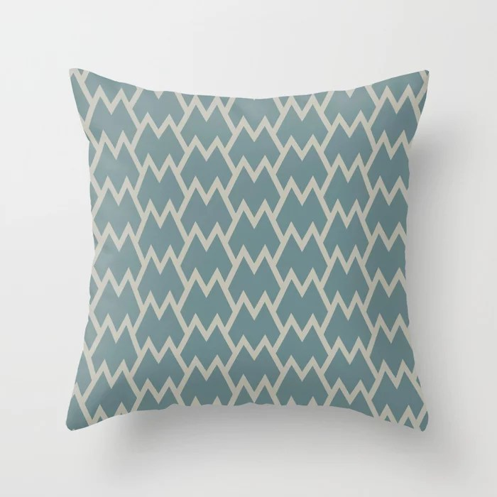 Soft Aqua Blue Tan Tessellation Line Pattern 18 2021 Color of the Year Aegean Teal and Winterwood Throw Pillow