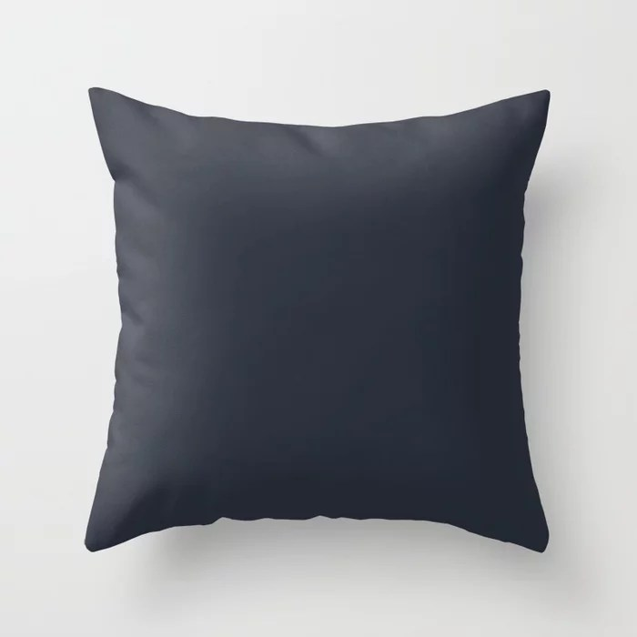 Dark Blue Trending Solid Color: Hue inspired by and matches (pairs / coordinates with) Jolie 2021 Color of the Year Accent Shade Classic Navy Throw Pillow