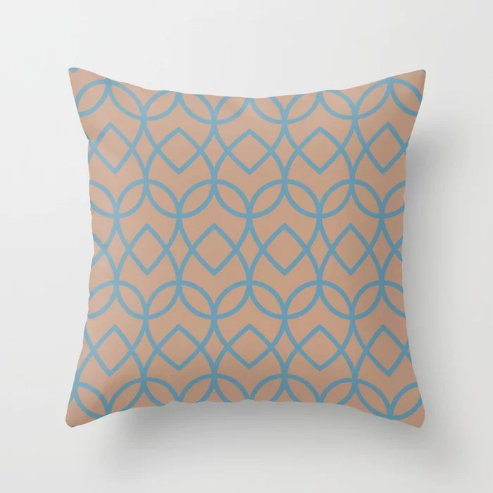Sand Storm Beige Dark Pastel Blue Teardrop Pattern 2021 Color of the Year Canyon Dusk Yacht Blue Throw Pillow
