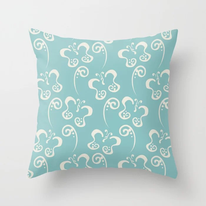 Aquamarine Cream Butterfly and Scroll Pattern V2 2021 Color of the Year Aqua Fiesta and Horseradish Throw Pillow