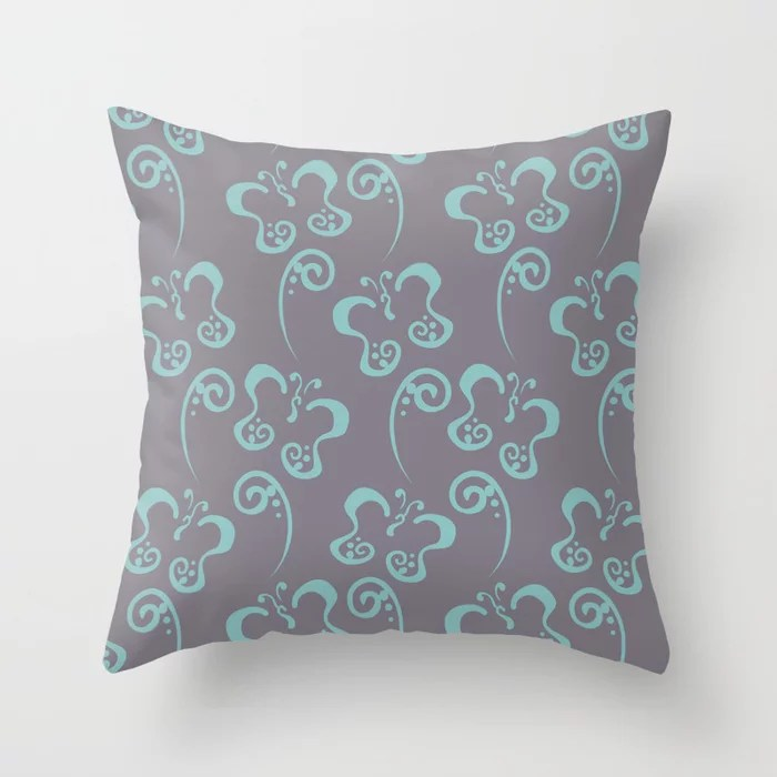 Aquamarine and Purple Butterfly and Scroll Pattern 2021 Color of the Year Aqua Fiesta and Magic Dust Throw Pillow