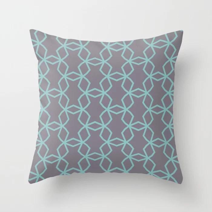 Aquamarine Purple Geometric Mosaic Pattern 2021 Color of the Year Aqua Fiesta and Magic Dust Throw Pillow
