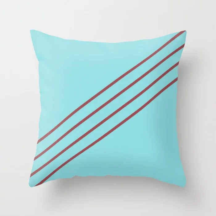 Red and Pastel Blue Diagonal Line Pattern Pairs HGTV 2021 Color of the Year Passionate Throw Pillow