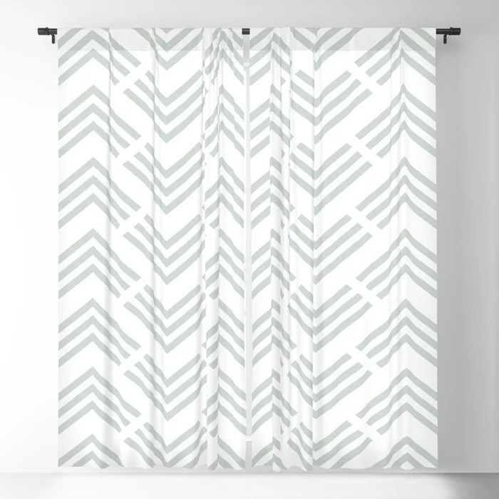 Pastel Green and White Chevron Rhombus Pattern Pairs Behr 2022 Color of the Year Breezeway MQ3-21 Blackout Curtain. Decorating colors for 2022