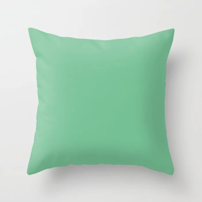 Lucky Number Mid-tone Green Solid Color Pairs Coloro 2021 Color Of The Year Accent Shade Quiet Wave Throw Pillow