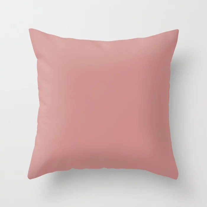 Sanctuary Dark Pastel Pink Solid Color Coordinates w/ Sherwin Williams Resounding Rose SW 6318 Throw Pillow